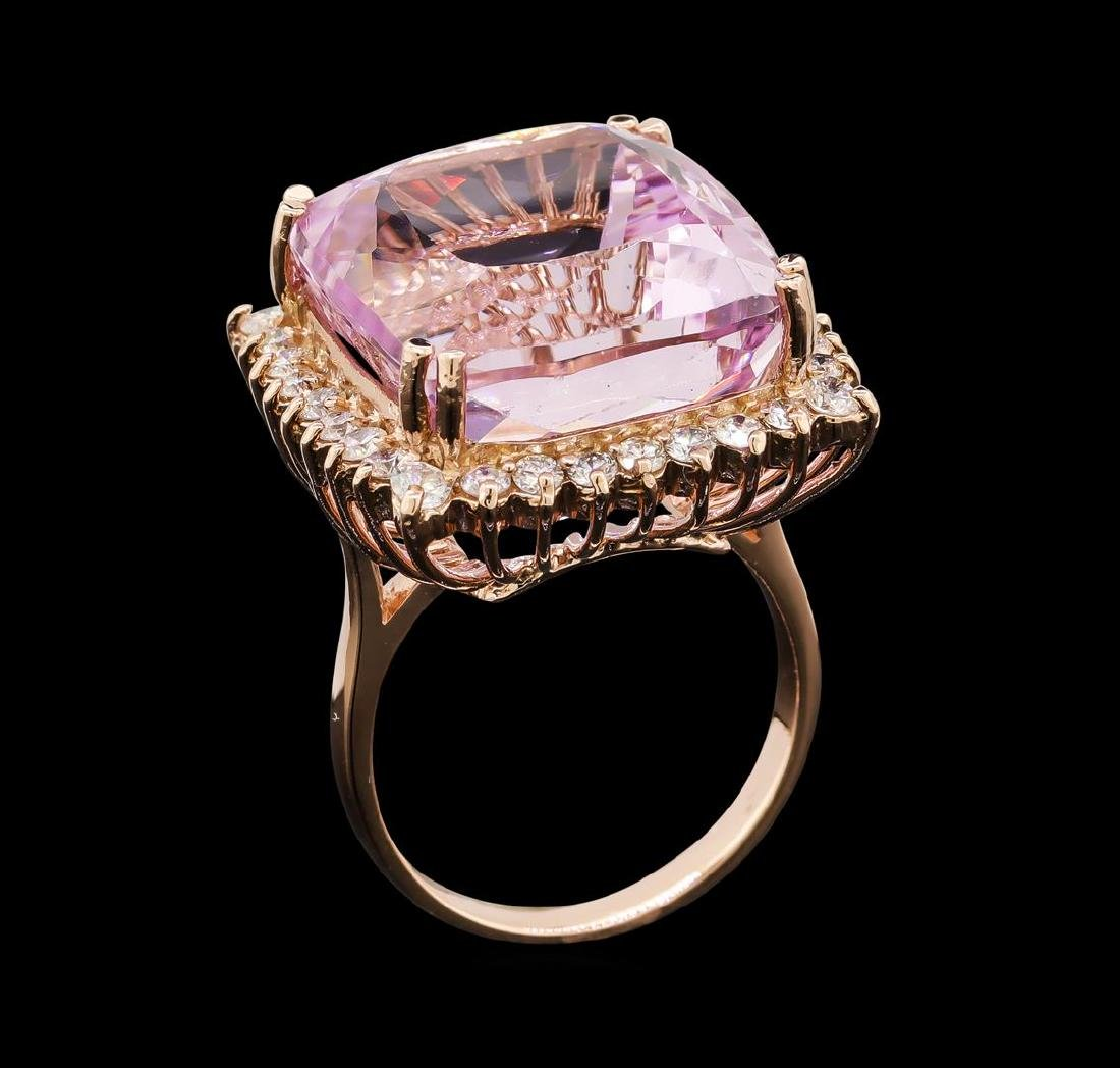 34.86 ctw Kunzite and Diamond Ring - 14KT Rose Gold - 4