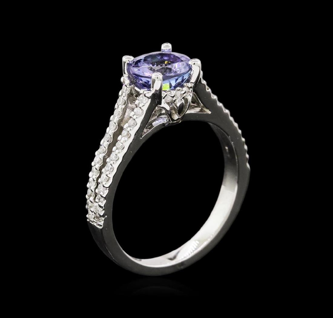 1.48 ctw Tanzanite and Diamond Ring - 14KT White Gold - 3