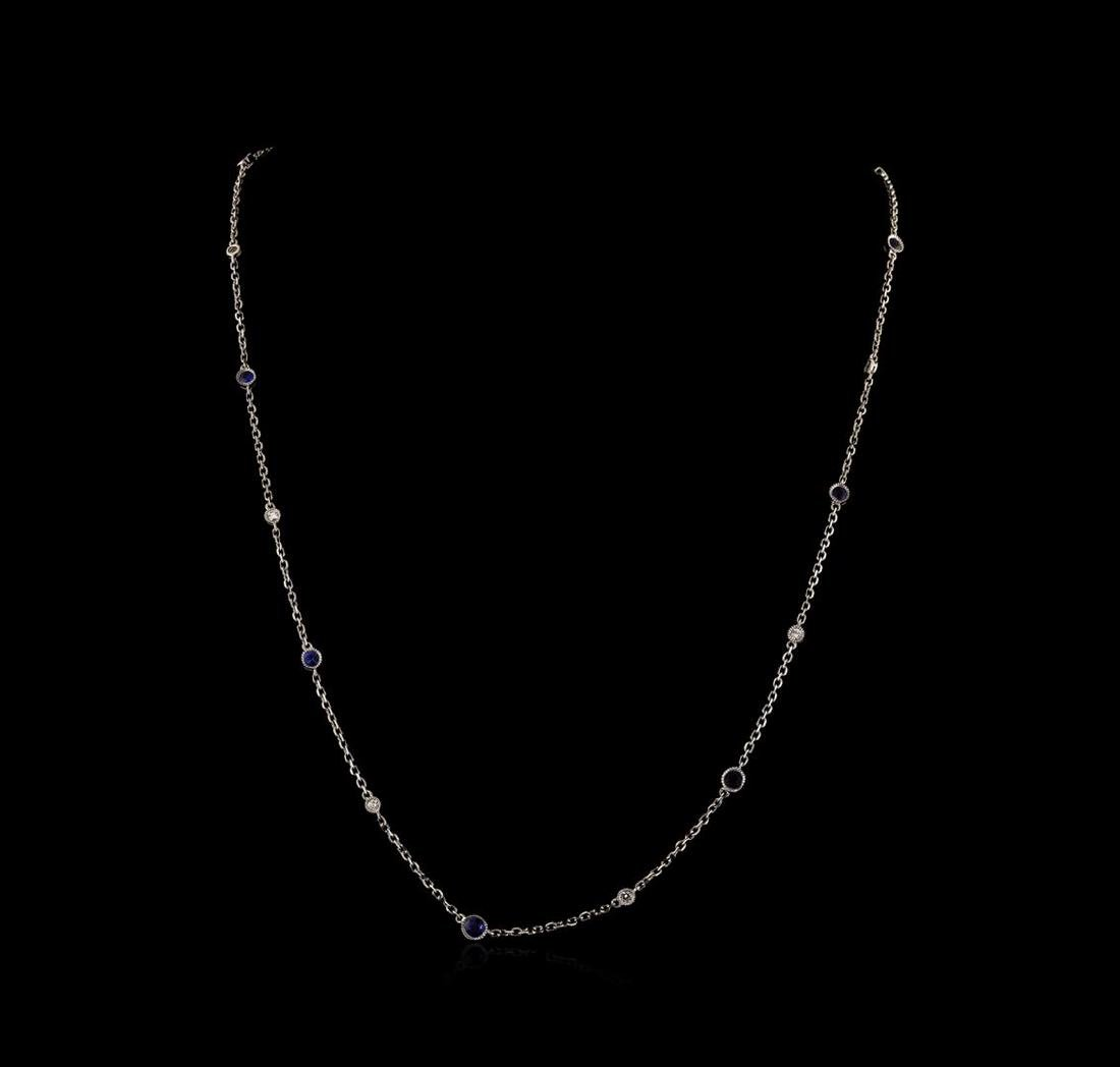 2.20 ctw Blue Sapphire and Diamond Necklace - 18KT