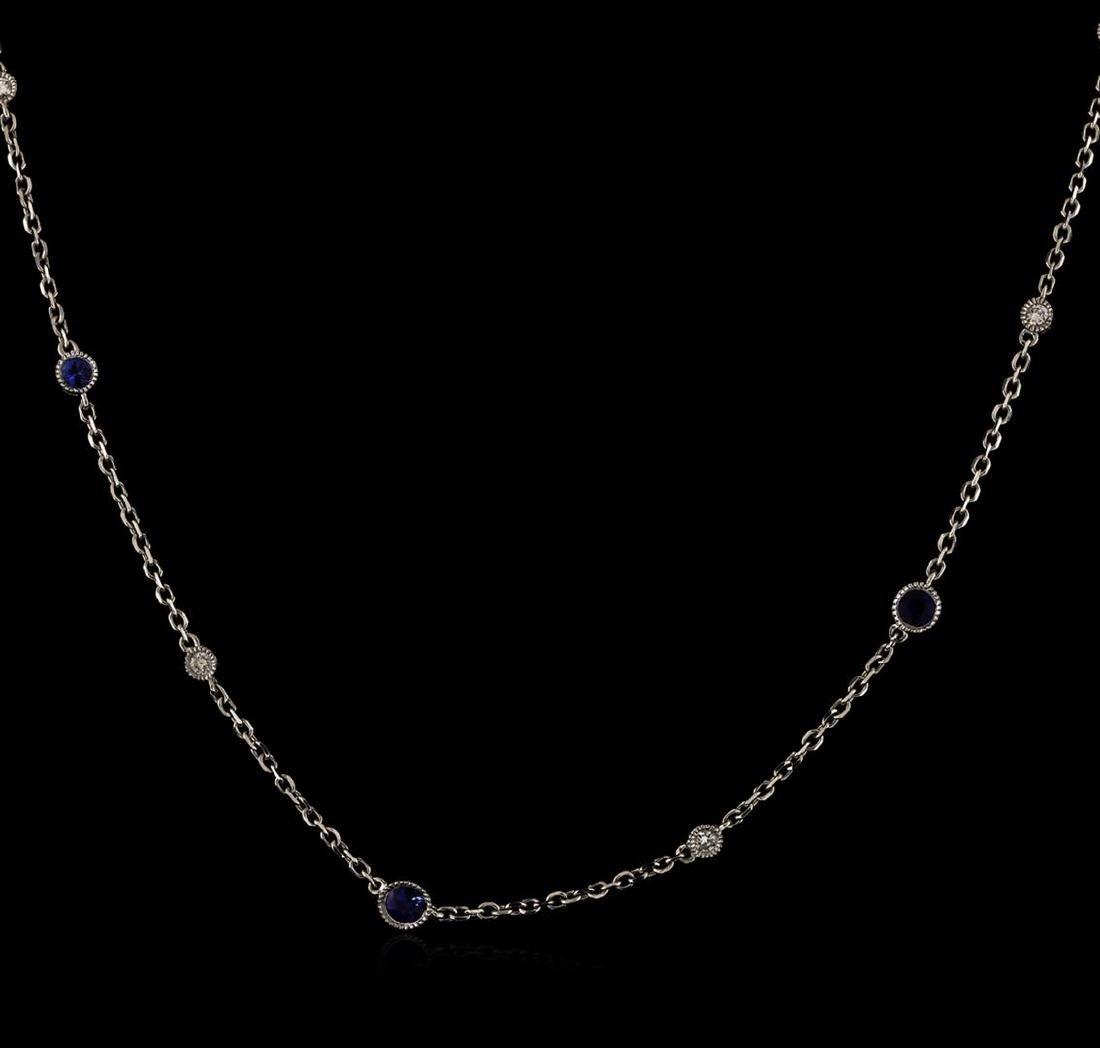 2.20 ctw Blue Sapphire and Diamond Necklace - 18KT - 2