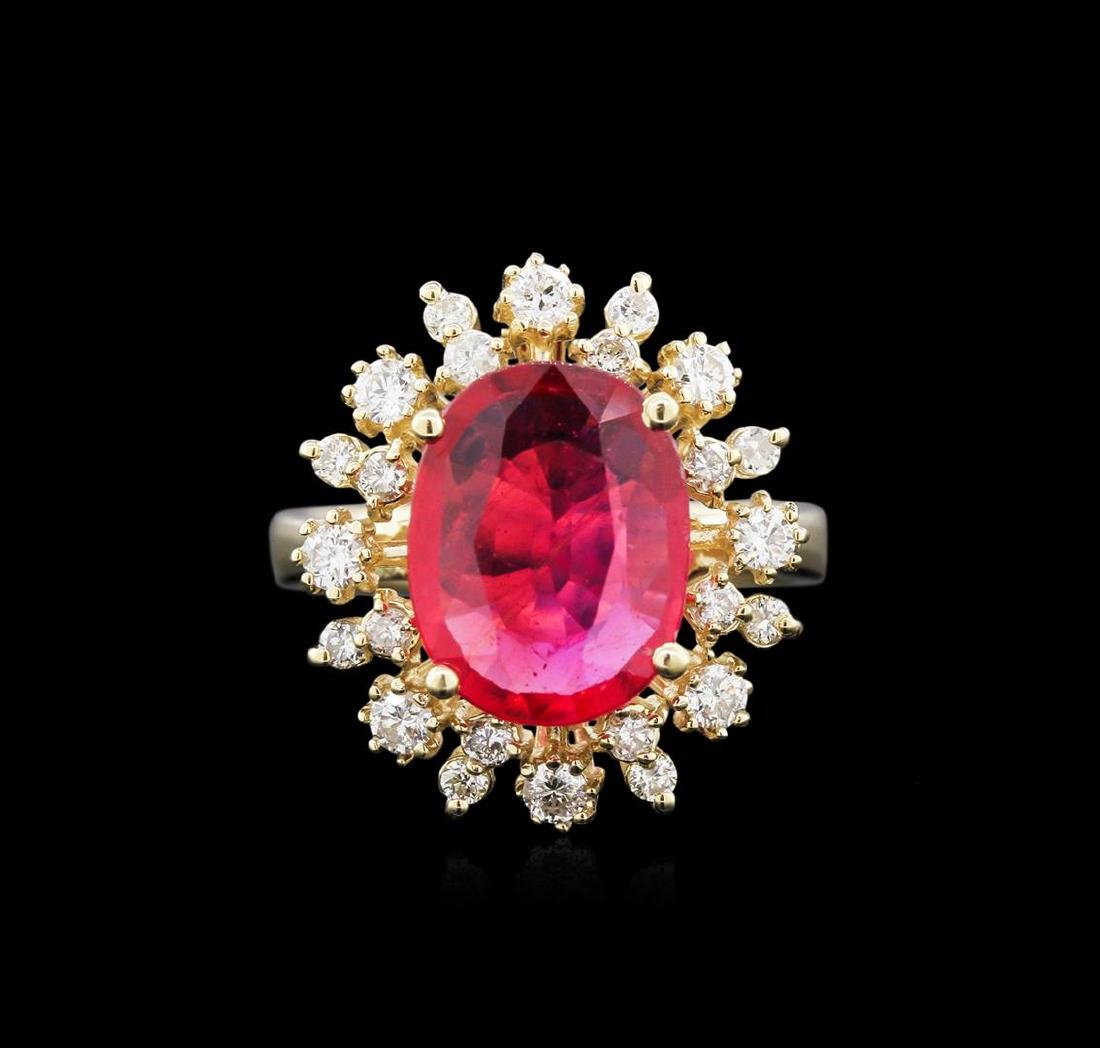 3.82 ctw Ruby and Diamond Ring - 14KT Yellow Gold - 2