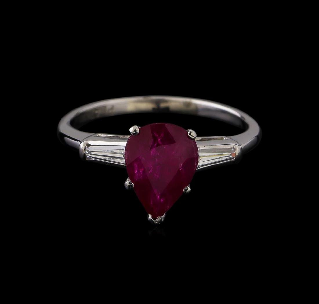 1.86 ctw Ruby and Diamond Ring - Platinum - 2