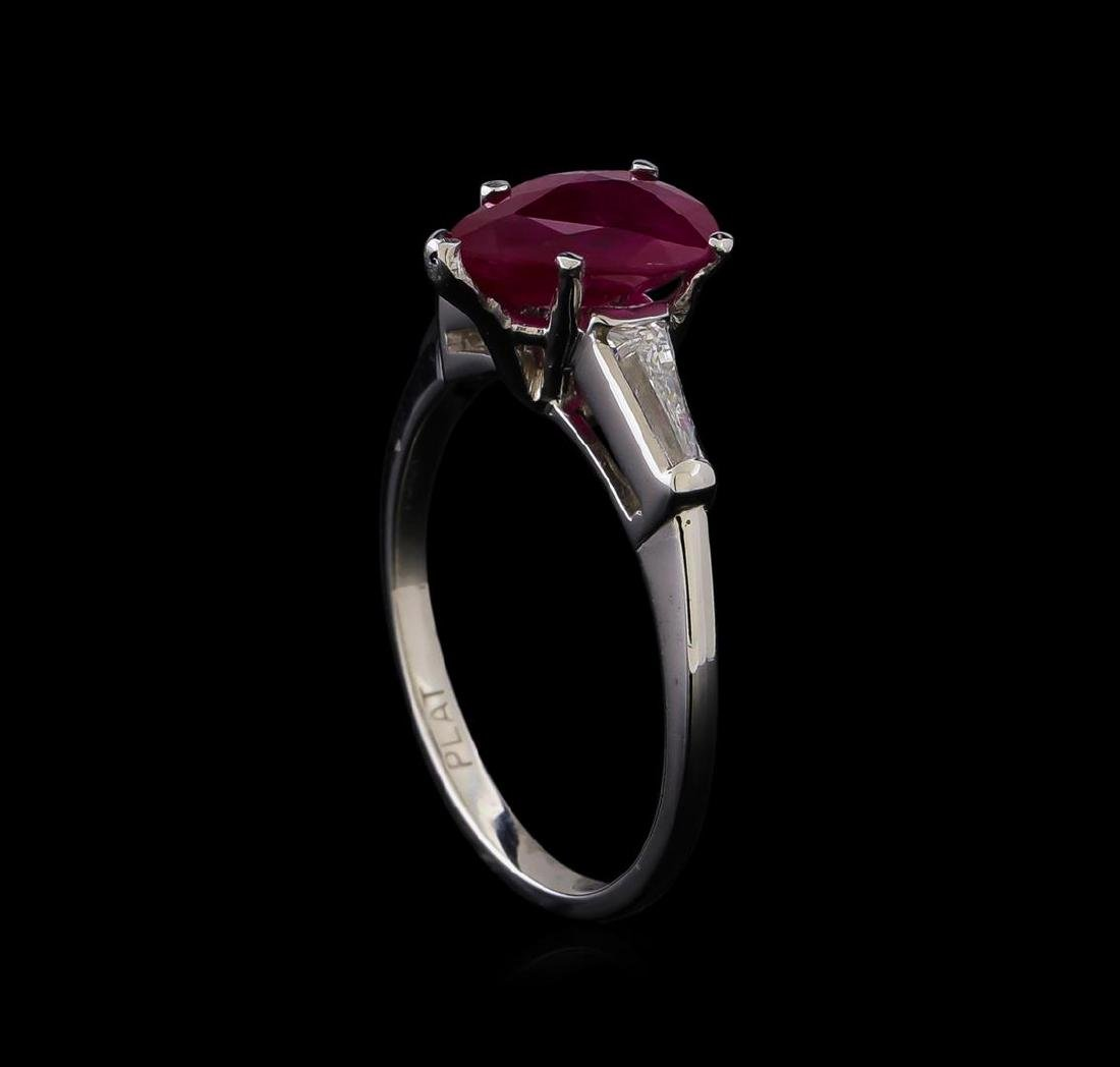 1.86 ctw Ruby and Diamond Ring - Platinum - 4
