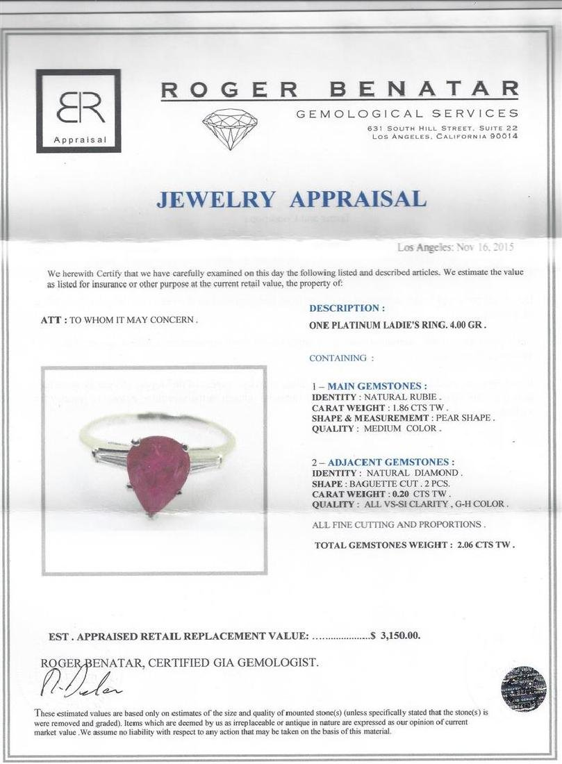 1.86 ctw Ruby and Diamond Ring - Platinum - 5
