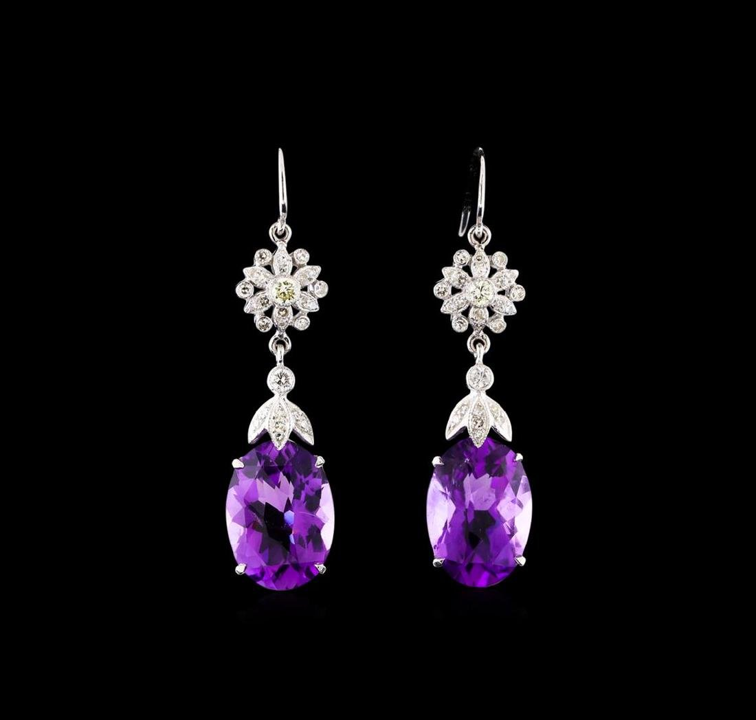 9.17 ctw Amethyst and Diamond Earrings - 14KT White