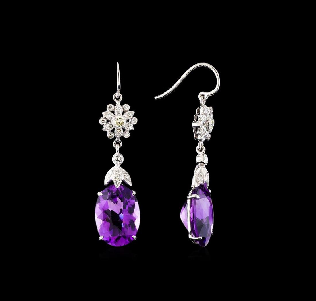 9.17 ctw Amethyst and Diamond Earrings - 14KT White - 2