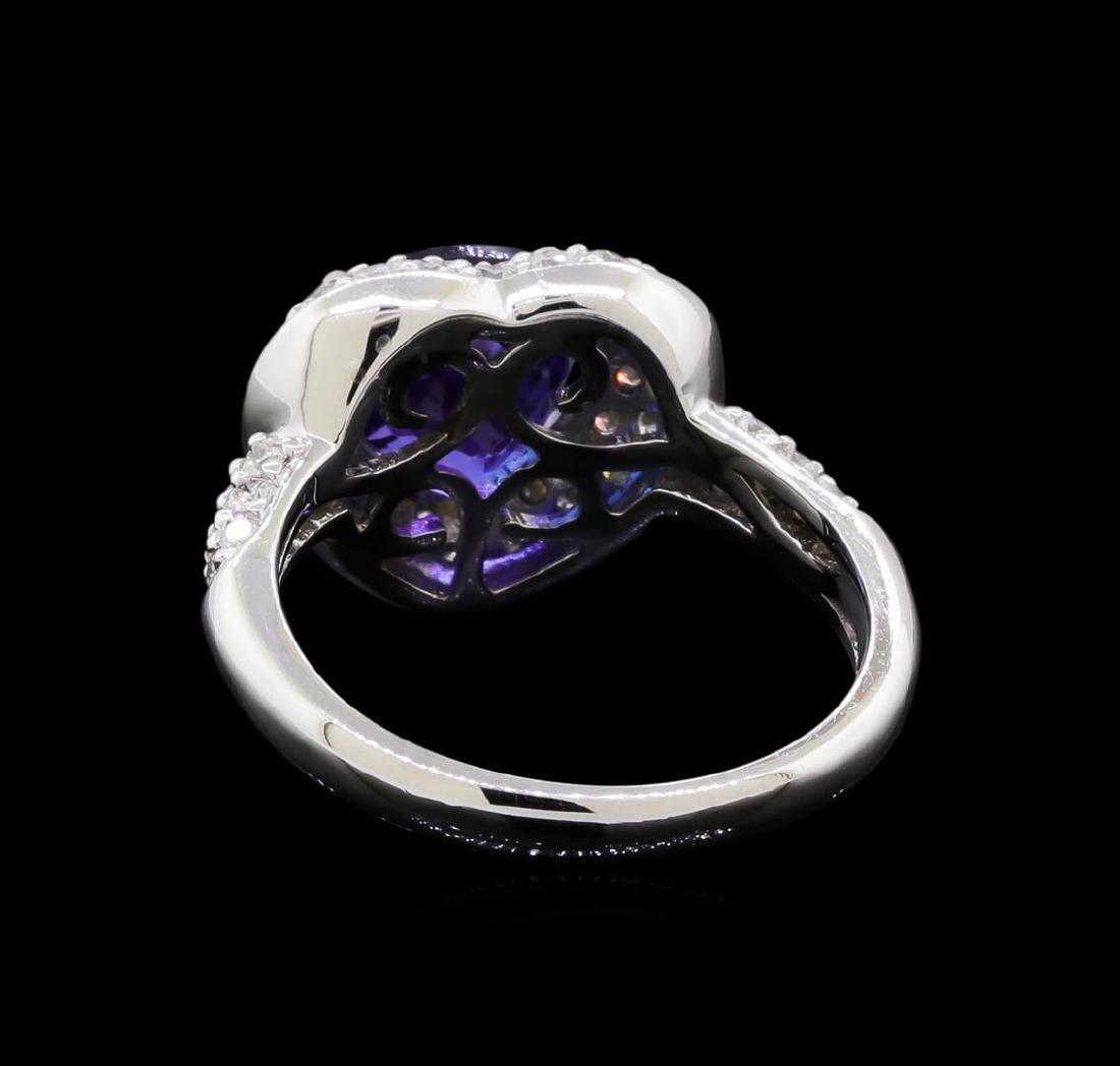 2.86 ctw Tanzanite and Diamond Ring - 18KT White Gold - 3