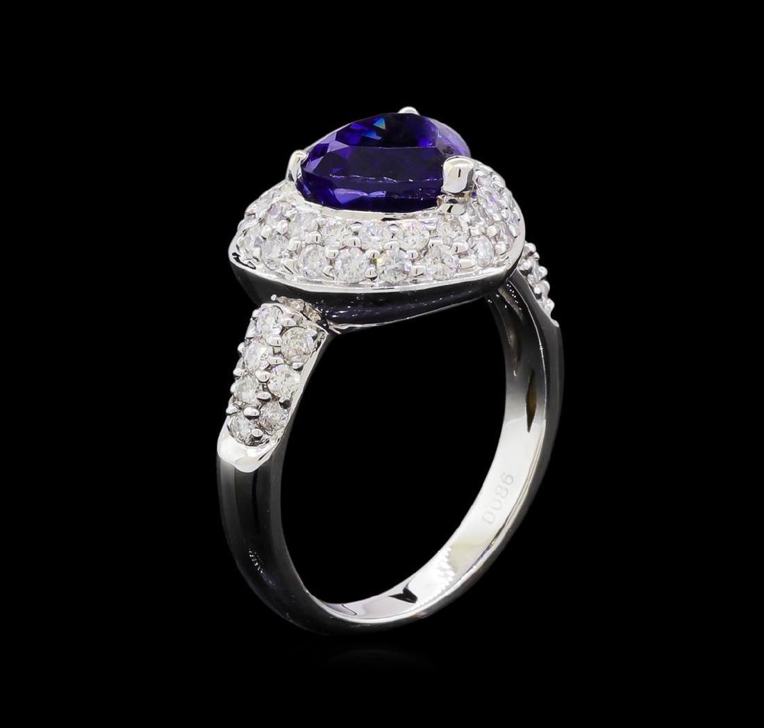 2.86 ctw Tanzanite and Diamond Ring - 18KT White Gold - 4