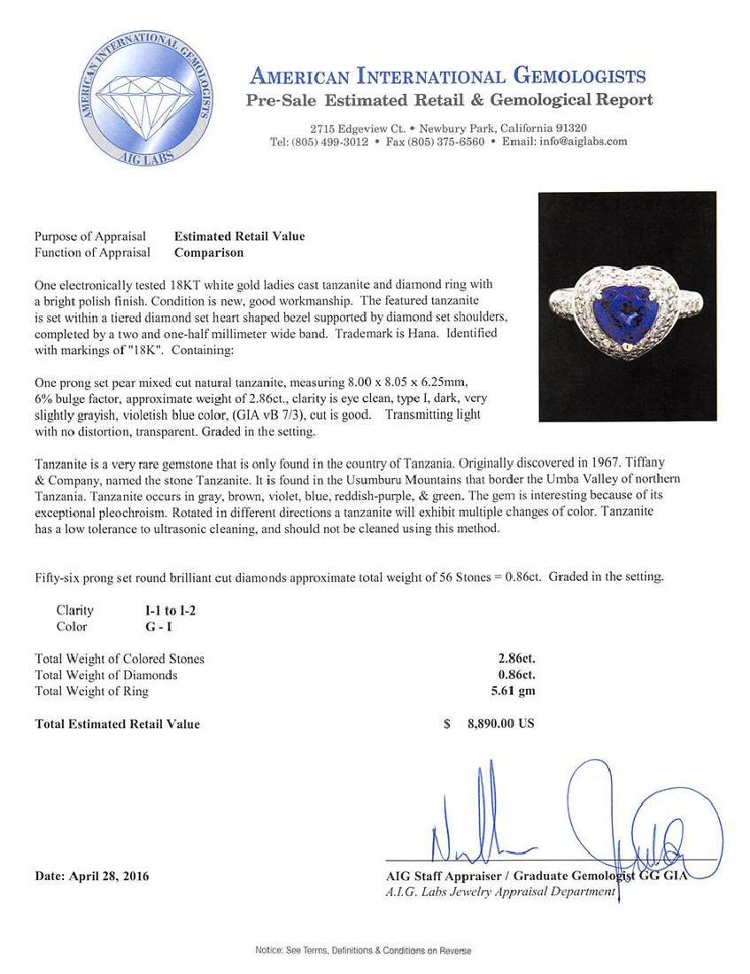 2.86 ctw Tanzanite and Diamond Ring - 18KT White Gold - 5