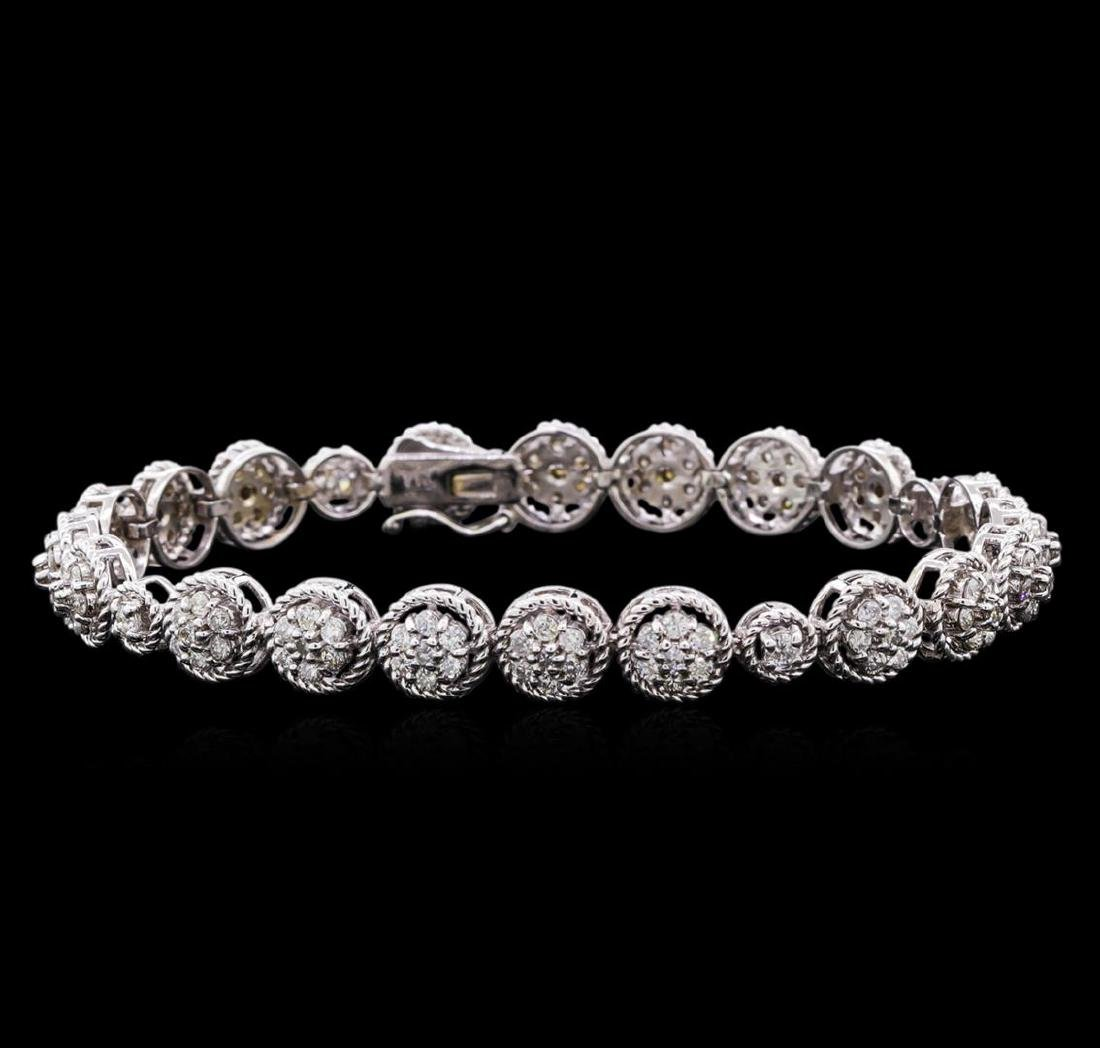 3.20 ctw Diamond Tennis Bracelet - 14KT White Gold