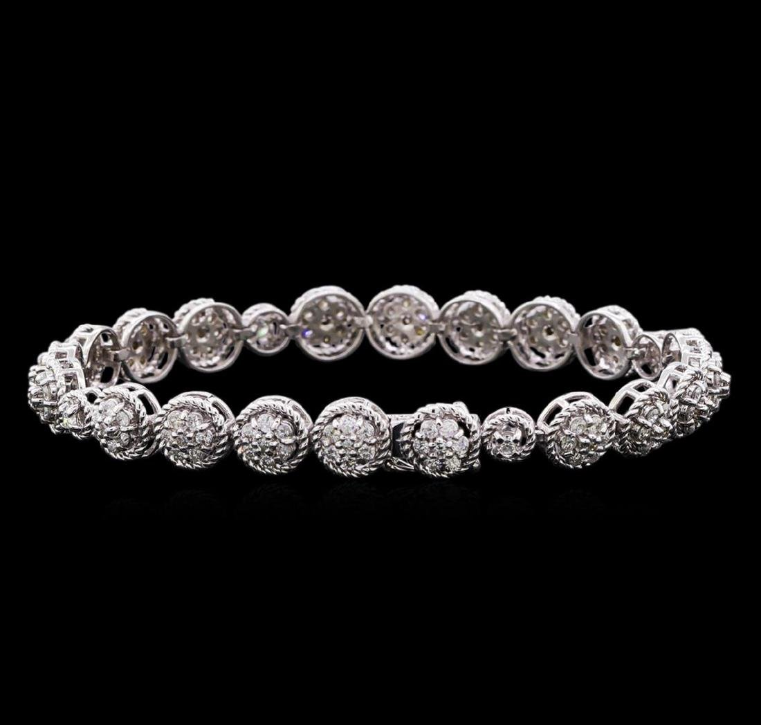 3.20 ctw Diamond Tennis Bracelet - 14KT White Gold - 2