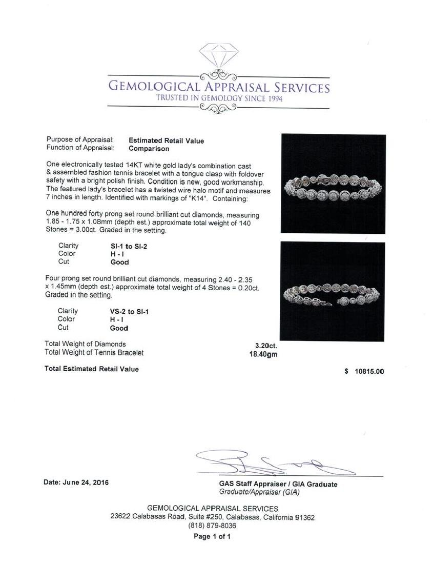 3.20 ctw Diamond Tennis Bracelet - 14KT White Gold - 4