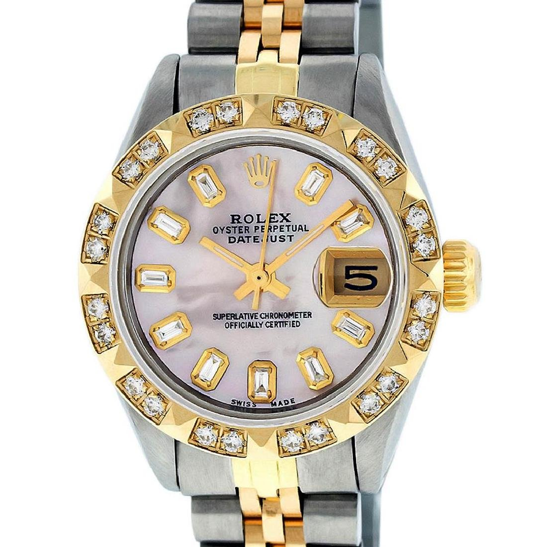 Rolex Ladies 2 Tone 14K Pink Mother Of Pearl Pyramid - 2