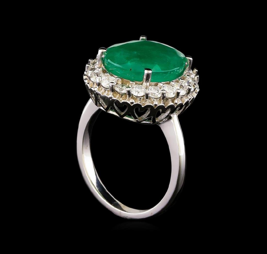 14KT White Gold 5.95 ctw Emerald and Diamond Ring - 4