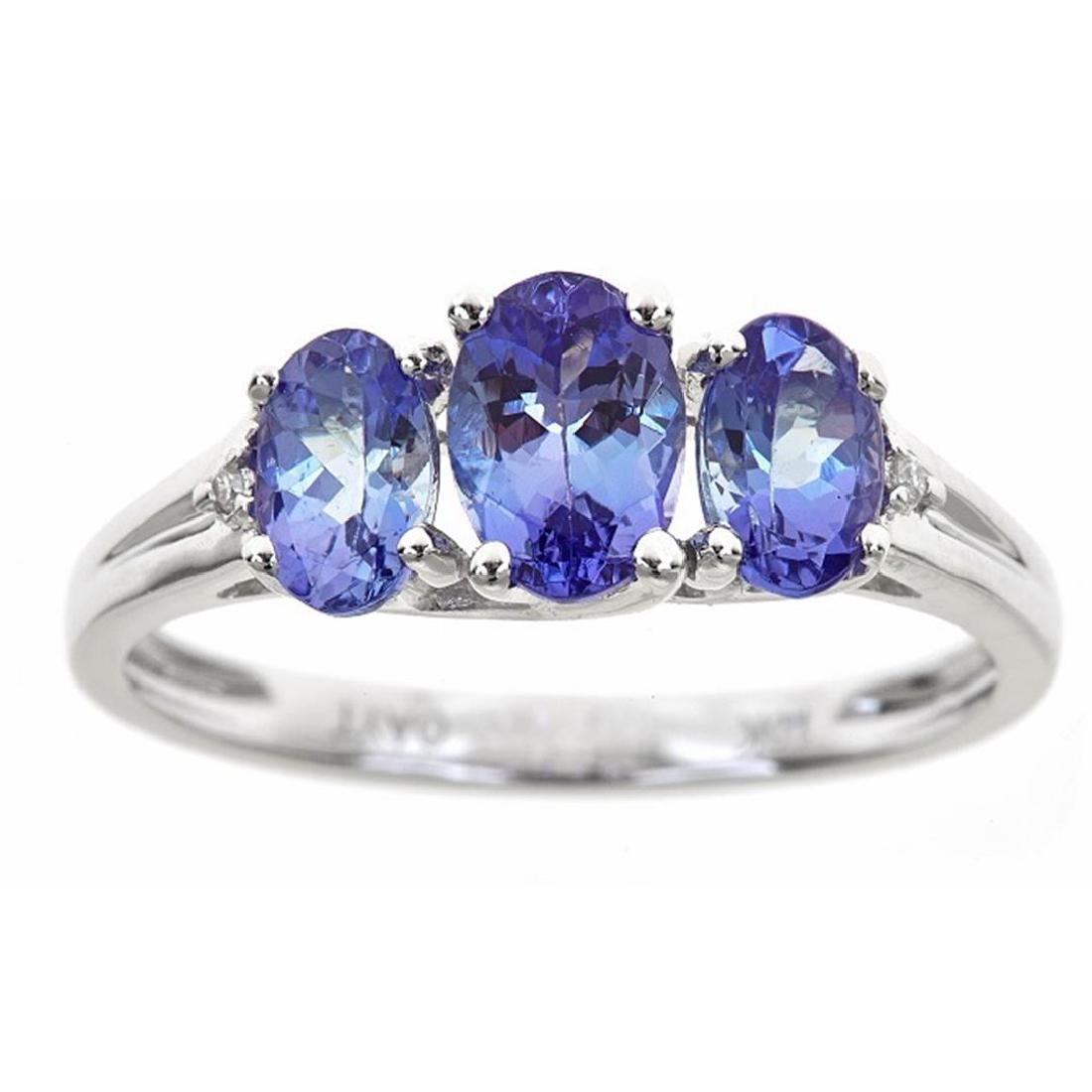 1.67 ctw Tanzanite and Diamond Ring - 10KT White Gold