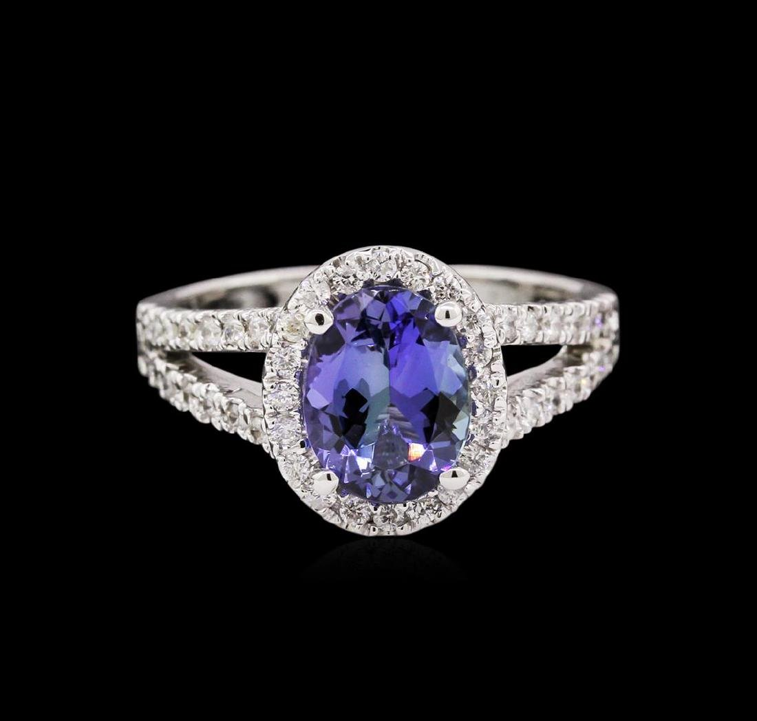 1.66 ctw Tanzanite and Diamond Ring - 14KT White Gold - 2