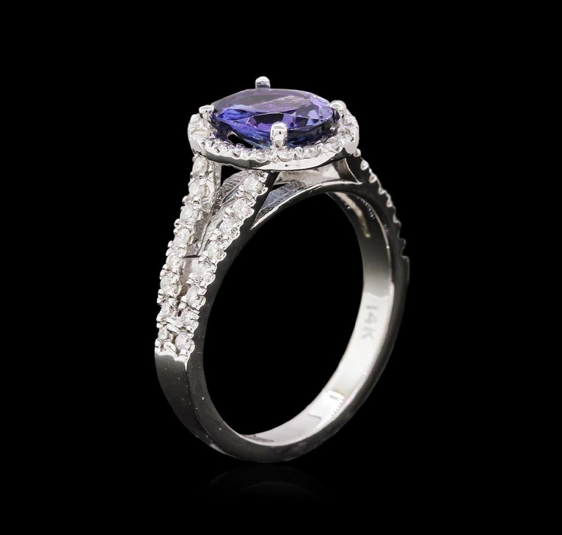 1.66 ctw Tanzanite and Diamond Ring - 14KT White Gold - 3