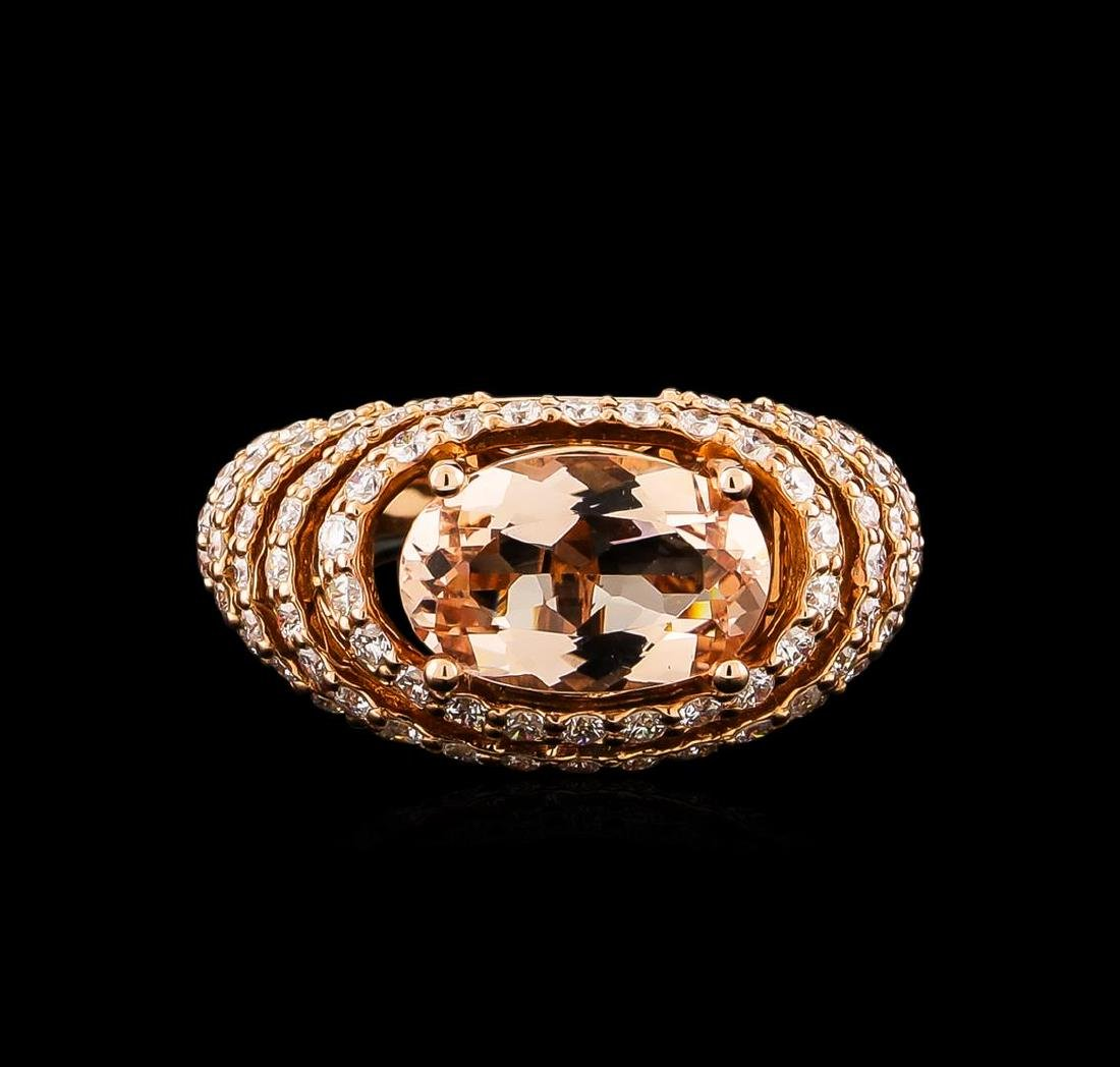 14KT Rose Gold 3.74 ctw Morganite and Diamond Ring - 2