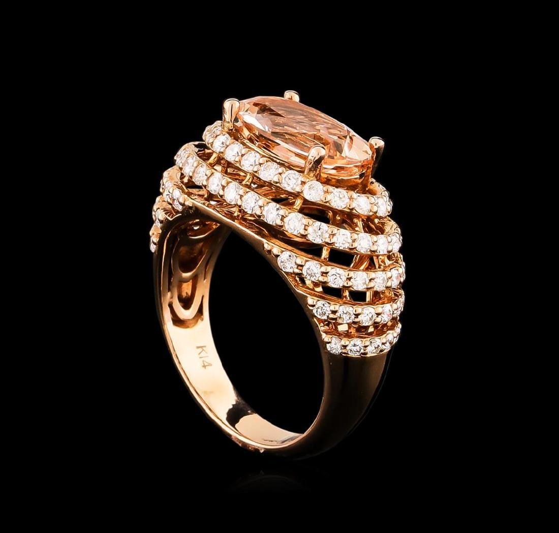 14KT Rose Gold 3.74 ctw Morganite and Diamond Ring - 4