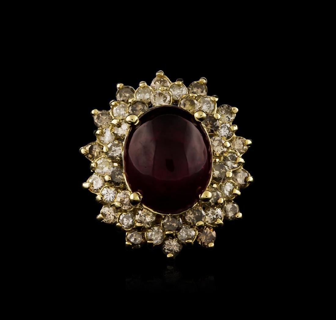 14KT Yellow Gold 9.94 ctw Ruby and Diamond Ring - 2