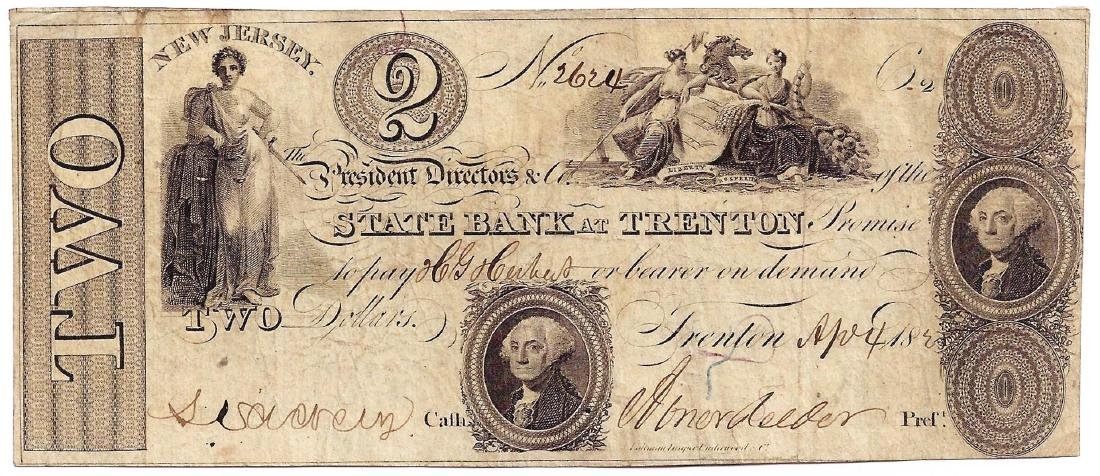1825 $2 New Jersey State Bank of Trenton Obsolete Bank