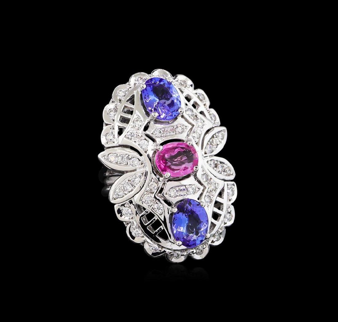 3.20 ctw Tanzanite, Pink Sapphire and Diamond Ring -