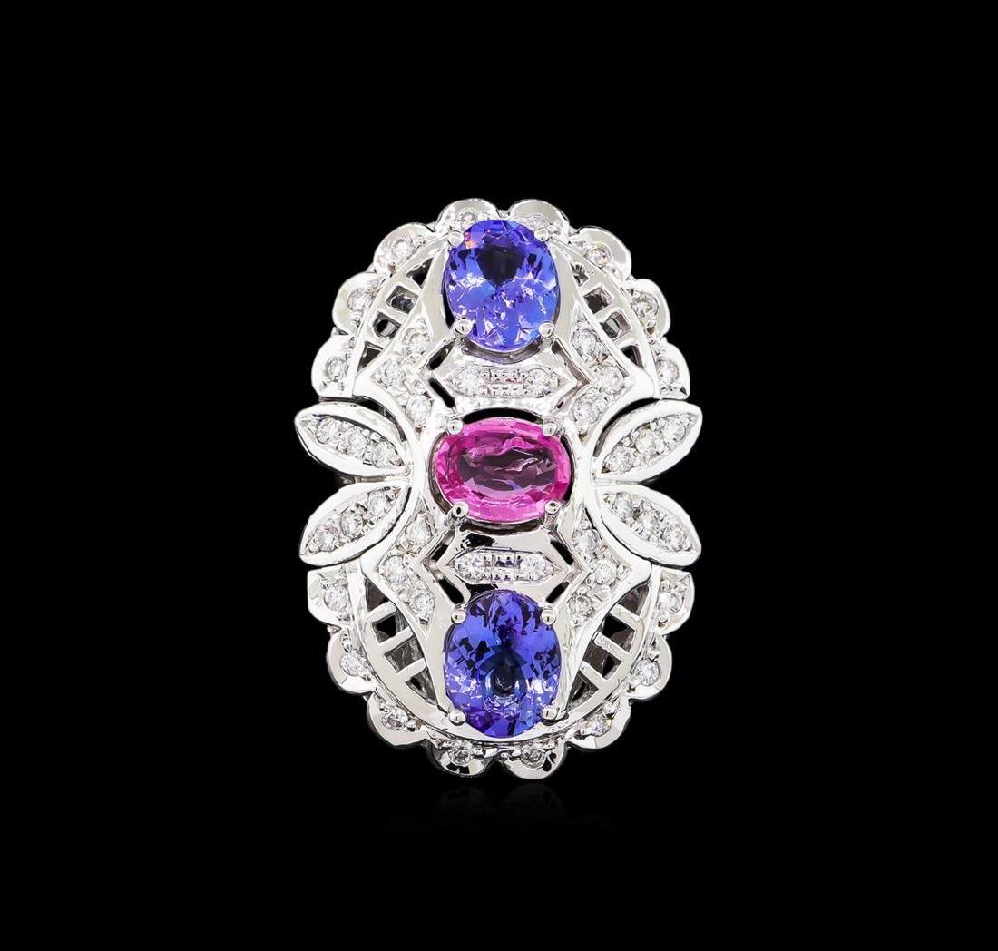 3.20 ctw Tanzanite, Pink Sapphire and Diamond Ring - - 2