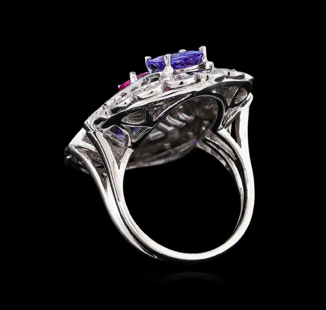 3.20 ctw Tanzanite, Pink Sapphire and Diamond Ring - - 3