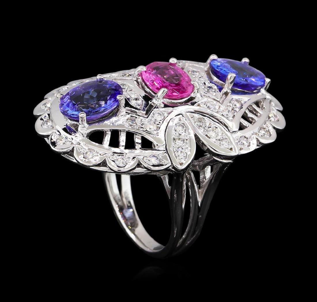 3.20 ctw Tanzanite, Pink Sapphire and Diamond Ring - - 4