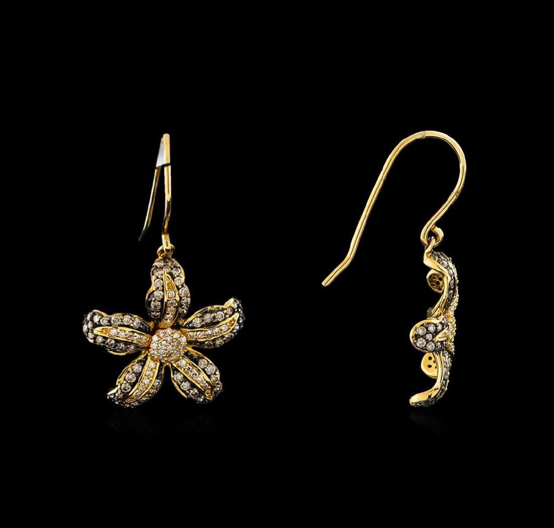 0.69 ctw Light Brown Diamond Earrings - 14KT Yellow - 2