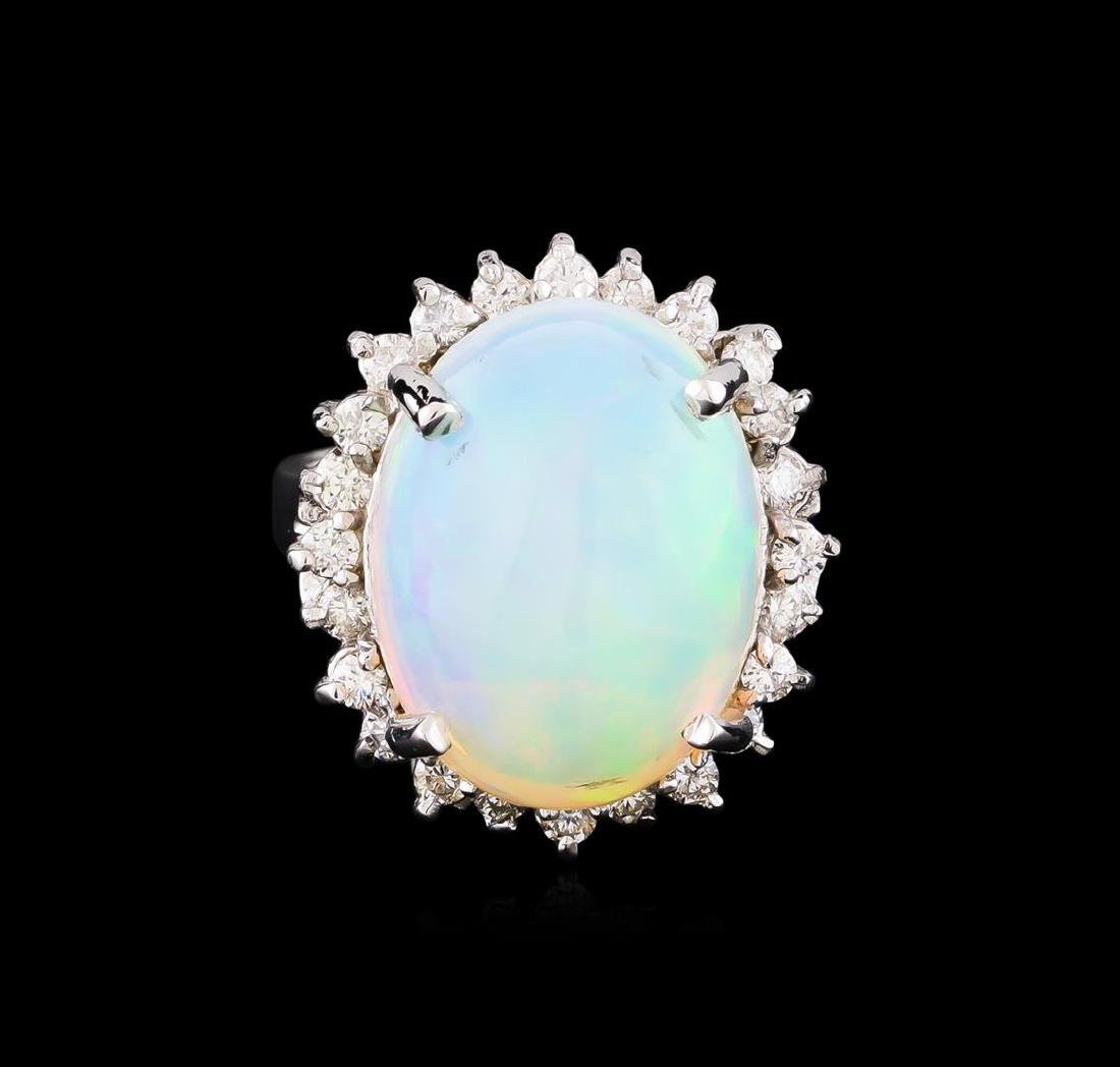 8.18 ctw Opal and Diamond Ring - 14KT White Gold - 2