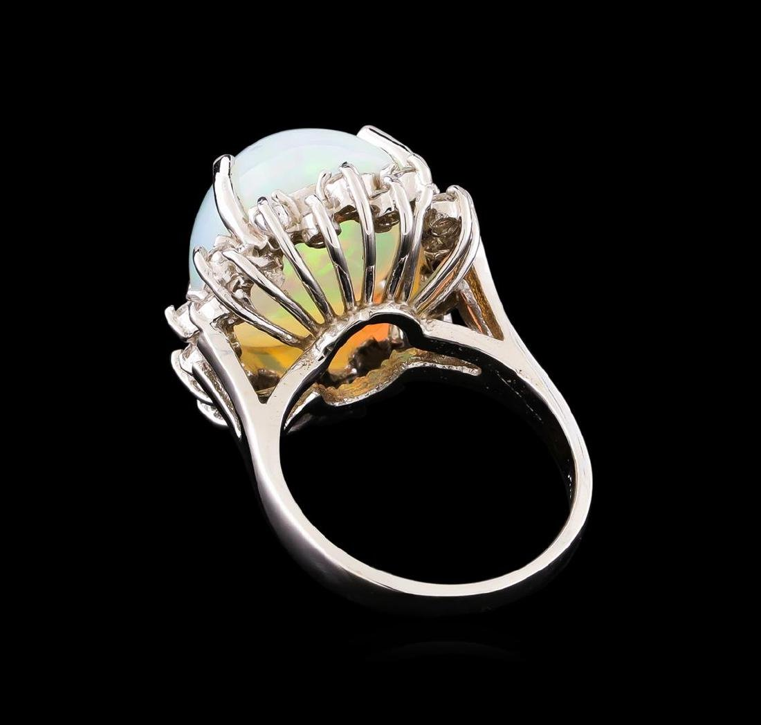 8.18 ctw Opal and Diamond Ring - 14KT White Gold - 3