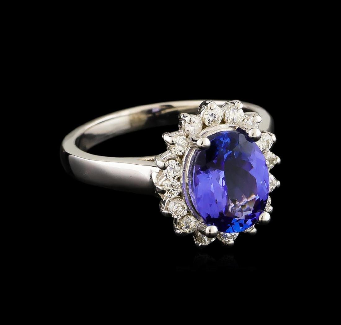 2.44 ctw Tanzanite and Diamond Ring - 14KT White Gold