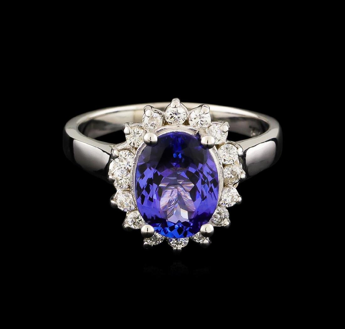 2.44 ctw Tanzanite and Diamond Ring - 14KT White Gold - 2
