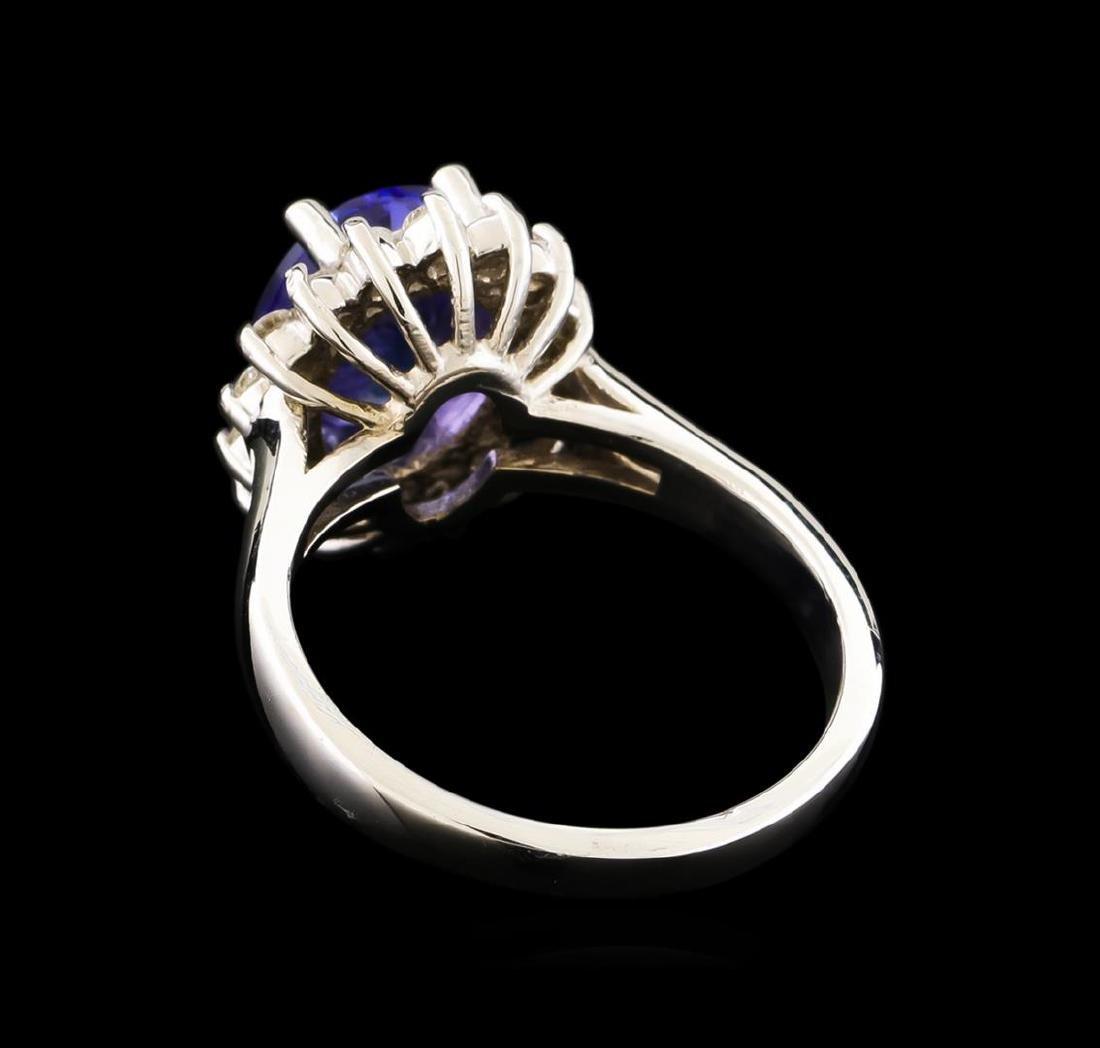 2.44 ctw Tanzanite and Diamond Ring - 14KT White Gold - 3
