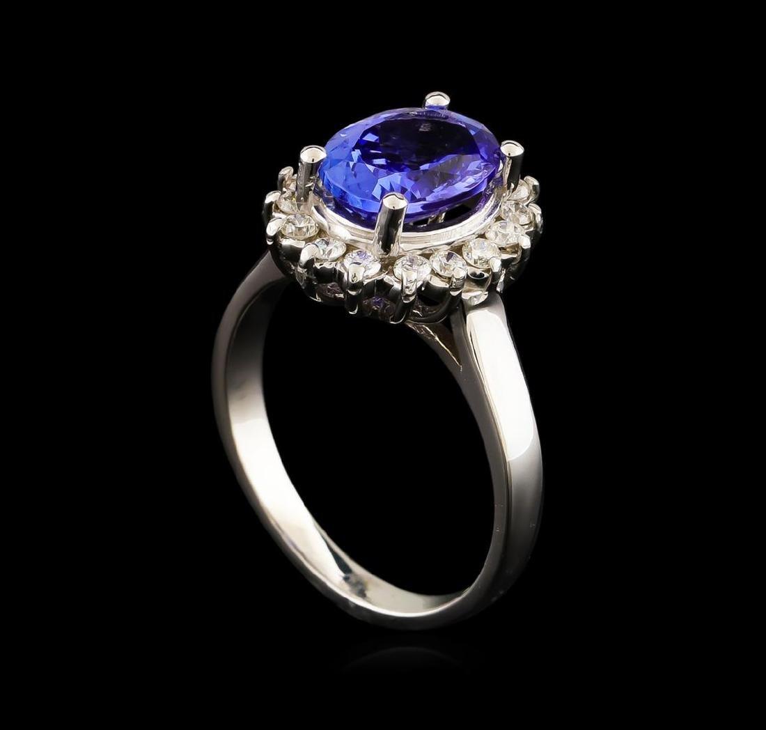 2.44 ctw Tanzanite and Diamond Ring - 14KT White Gold - 4
