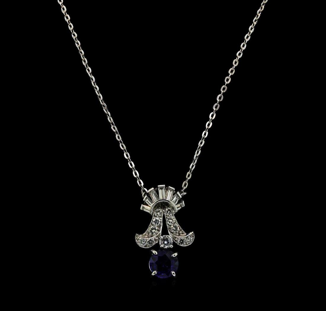 1.00 ctw Sapphire and Diamond Pendant With Chain -