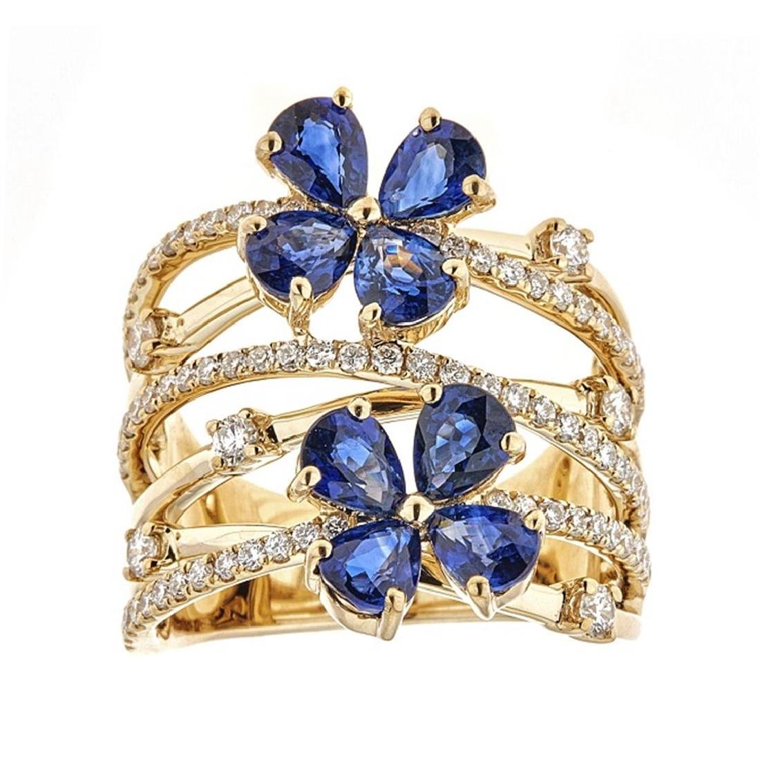 3.18 ctw Sapphire and Diamond Ring - 18KT Yellow Gold