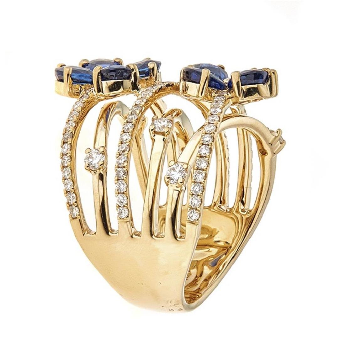 3.18 ctw Sapphire and Diamond Ring - 18KT Yellow Gold - 2