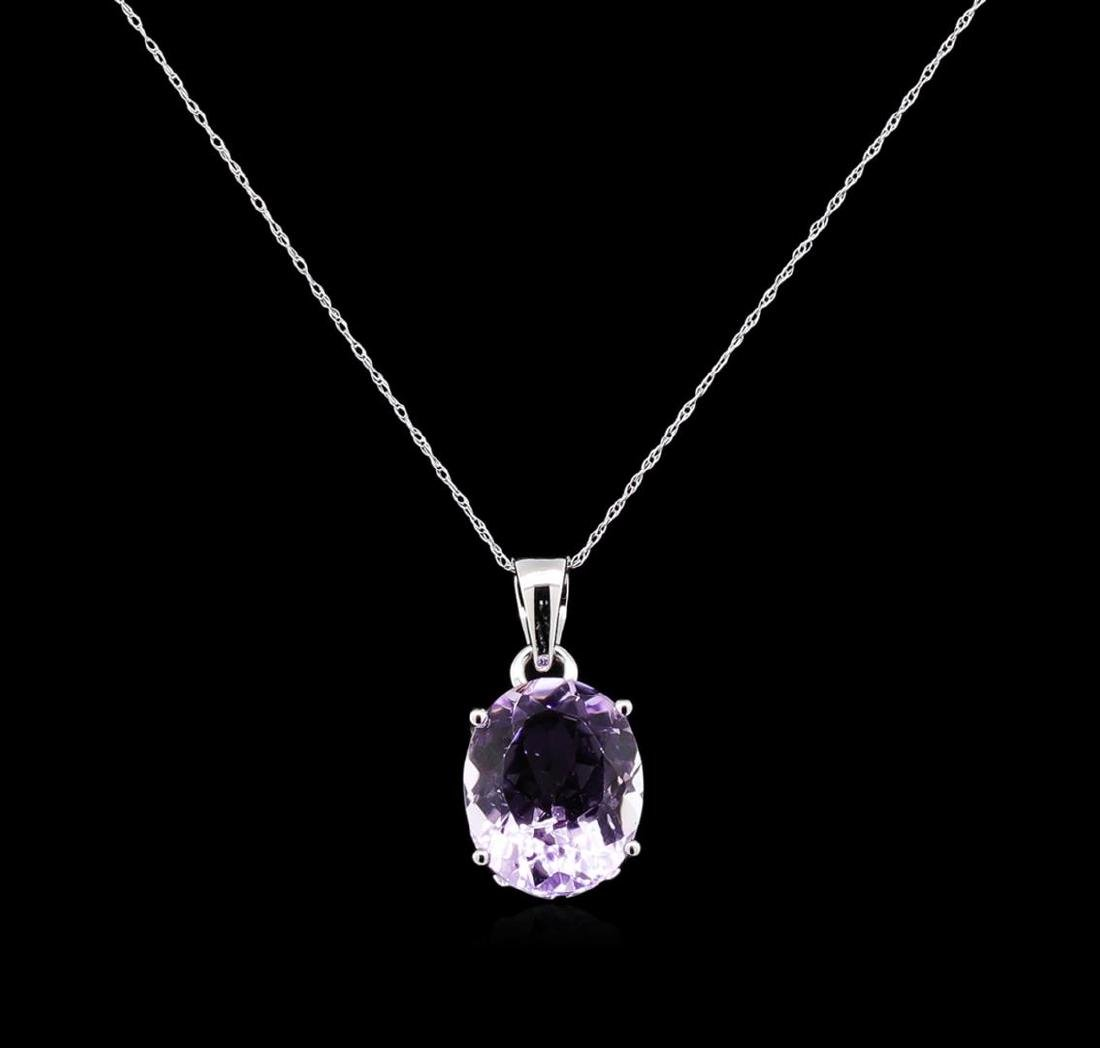 Crayola 7.90 ctw Pink Amethyst Pendant With Chain - 14K - 2