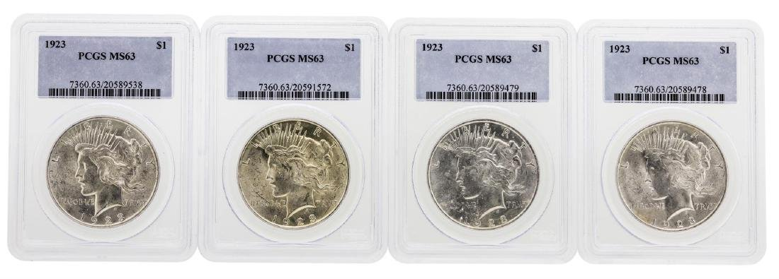 Lot of (4) 1923 $1 Peace Silver Dollar Coins PCGS MS63