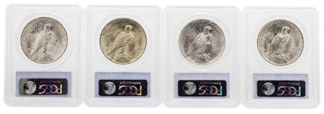 Lot of (4) 1923 $1 Peace Silver Dollar Coins PCGS MS63 - 2