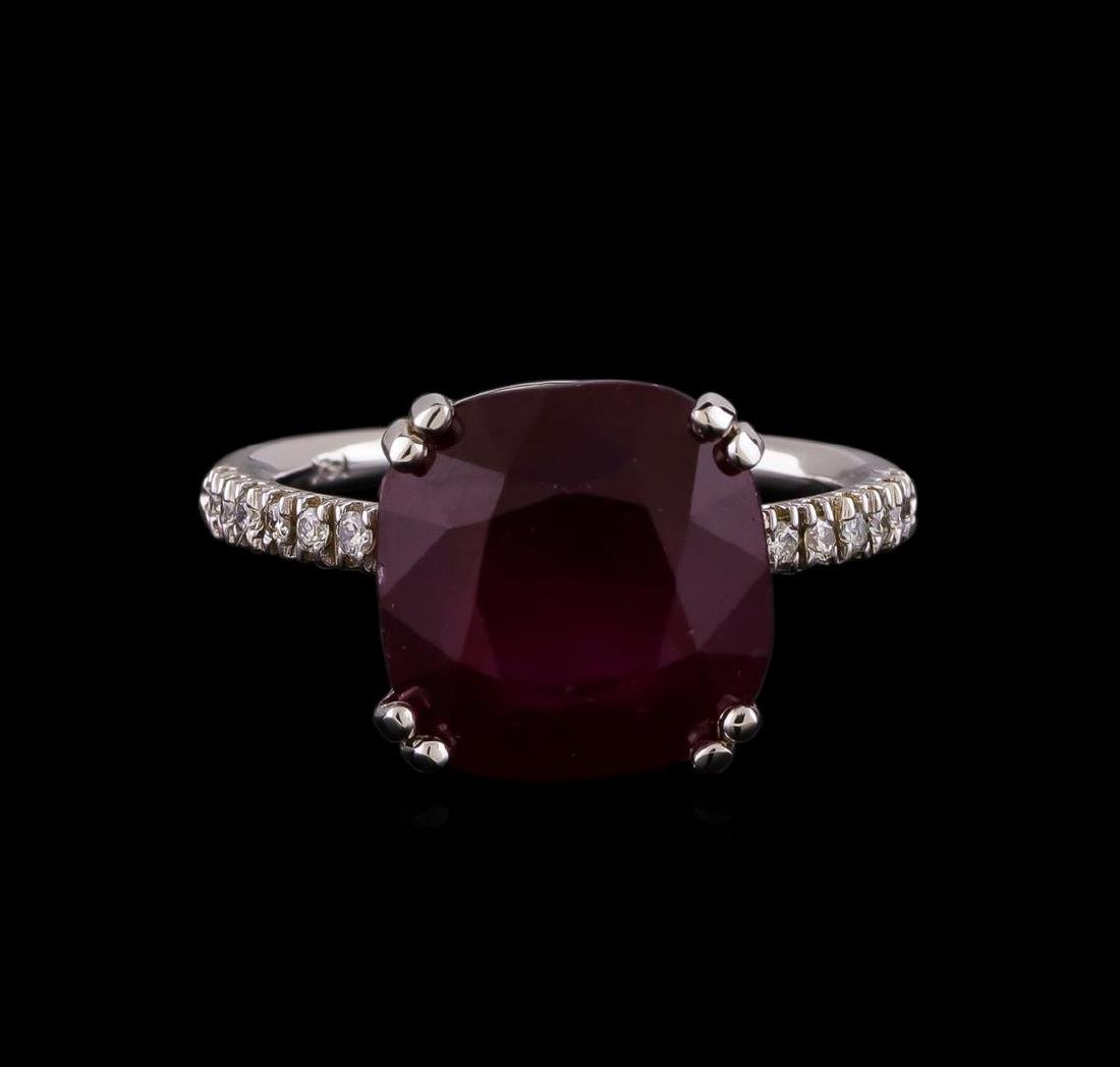 10.16 ctw Ruby and Diamond Ring - 14KT White Gold - 2
