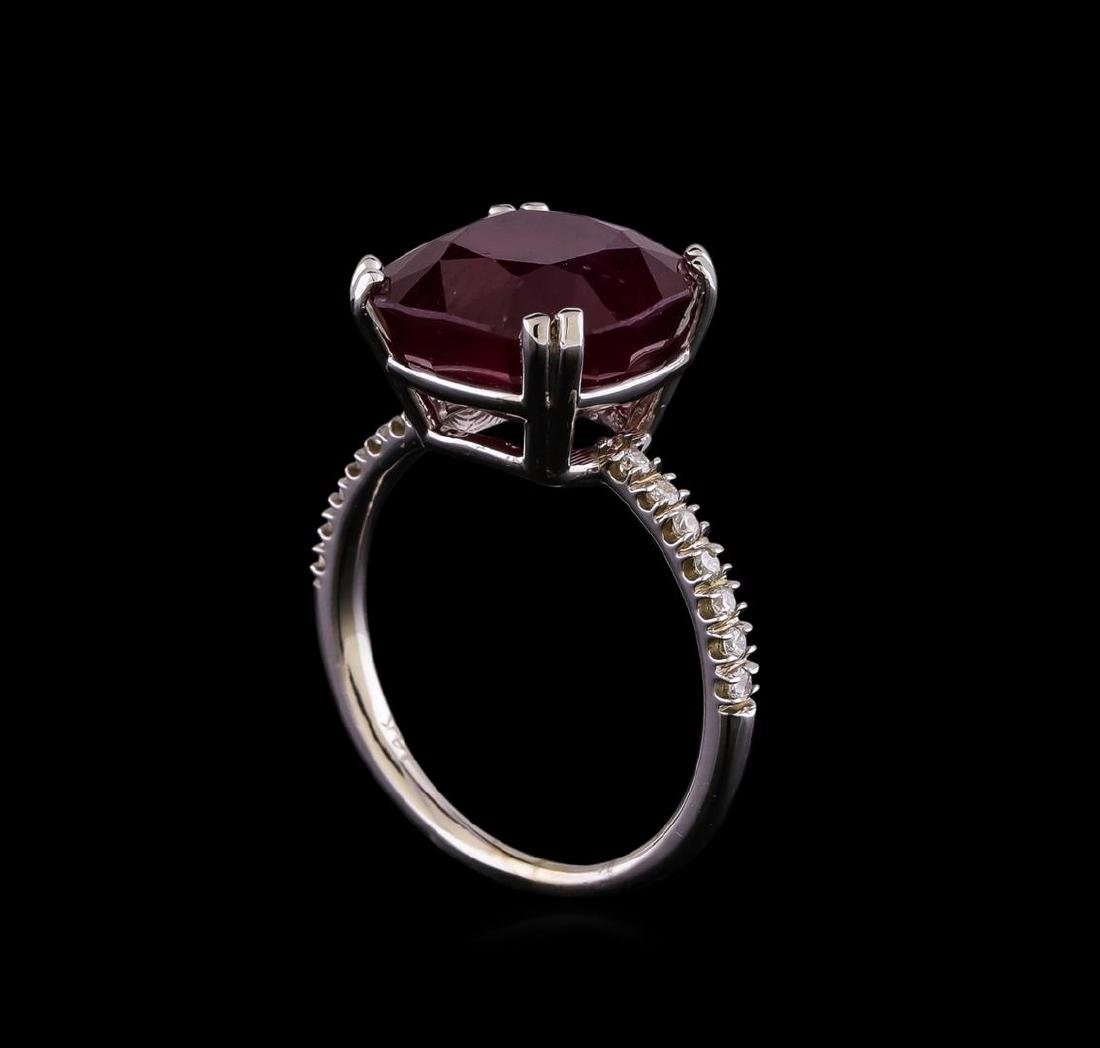 10.16 ctw Ruby and Diamond Ring - 14KT White Gold - 4