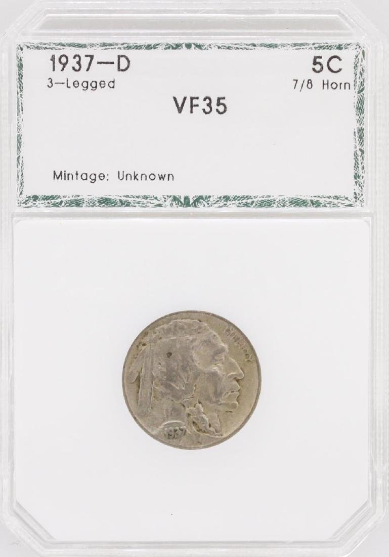 1937-D Nickel VF35 3-Legged Buffalo Coin