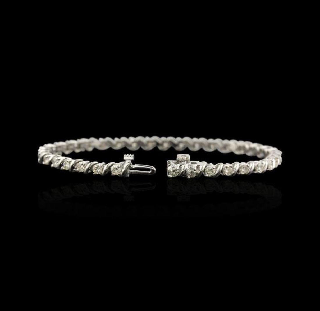 14KT White Gold 2.67 ctw Diamond Tennis Bracelet - 2
