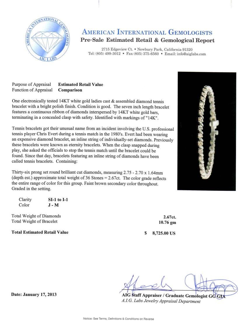 14KT White Gold 2.67 ctw Diamond Tennis Bracelet - 3