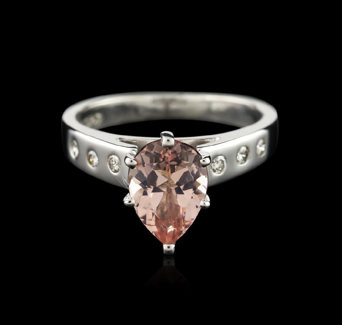 Platinum 1.42 ctw Morganite and Diamond Ring - 2