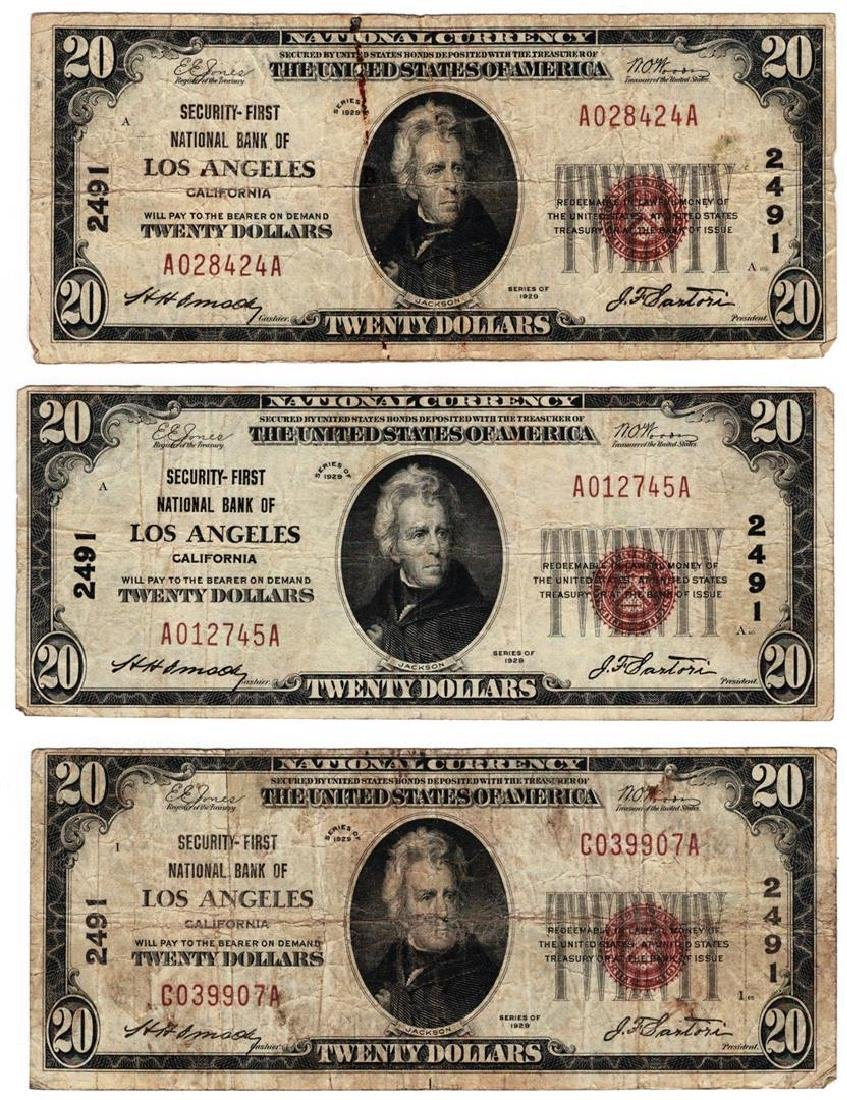 Lot (3) 1929 $20 San Francisco CA National Currency
