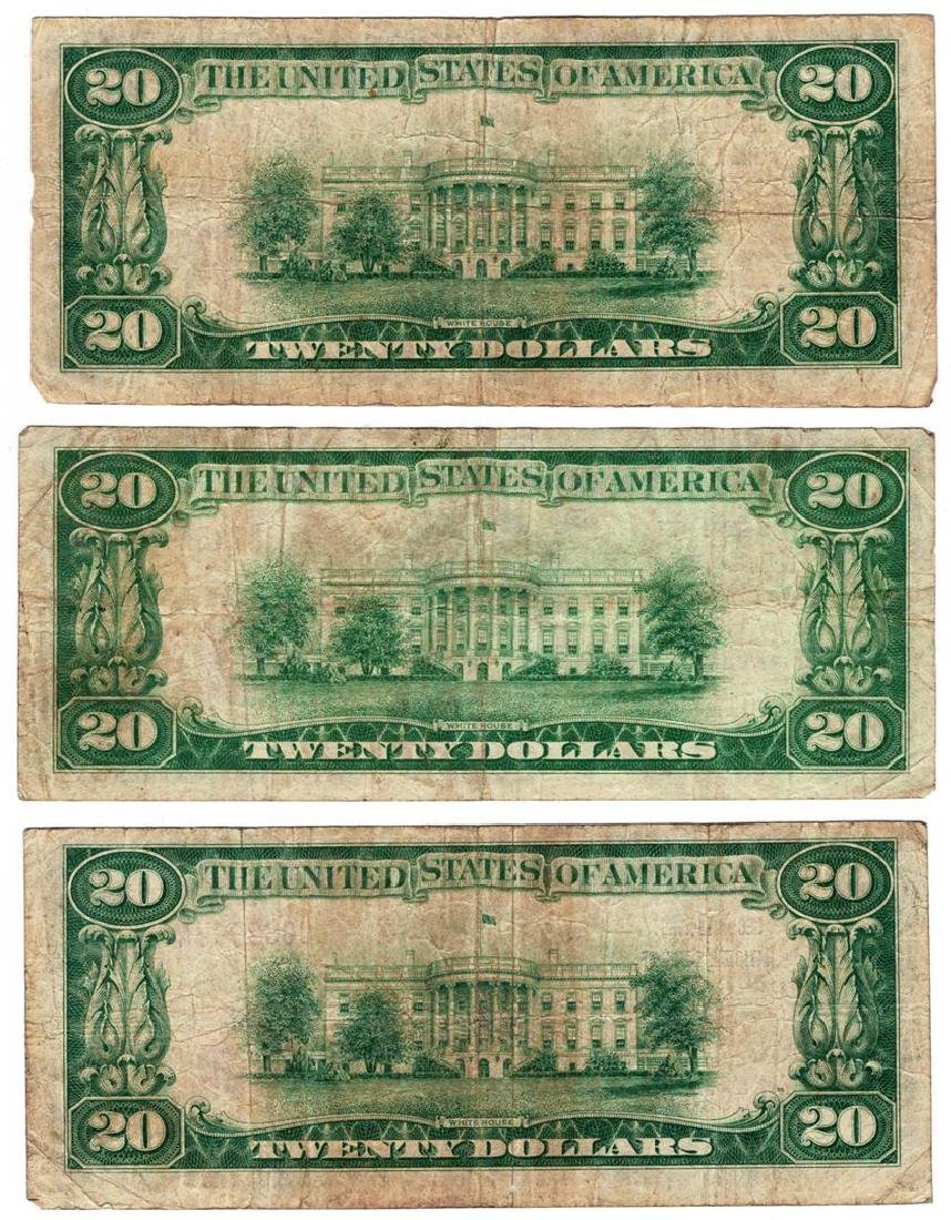 Lot (3) 1929 $20 San Francisco CA National Currency - 2